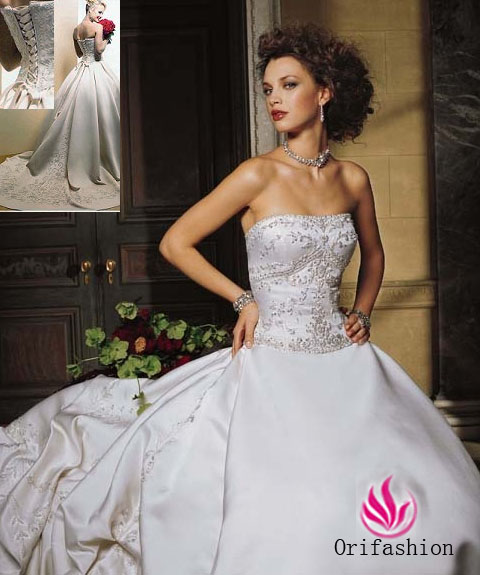 Embroidered Strapless A-Line Bridal Gown / Wedding Dress EG24 - Click Image to Close