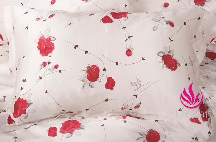 Orifashion Silk Pillow Sham Printed with Floral Patterns (set of